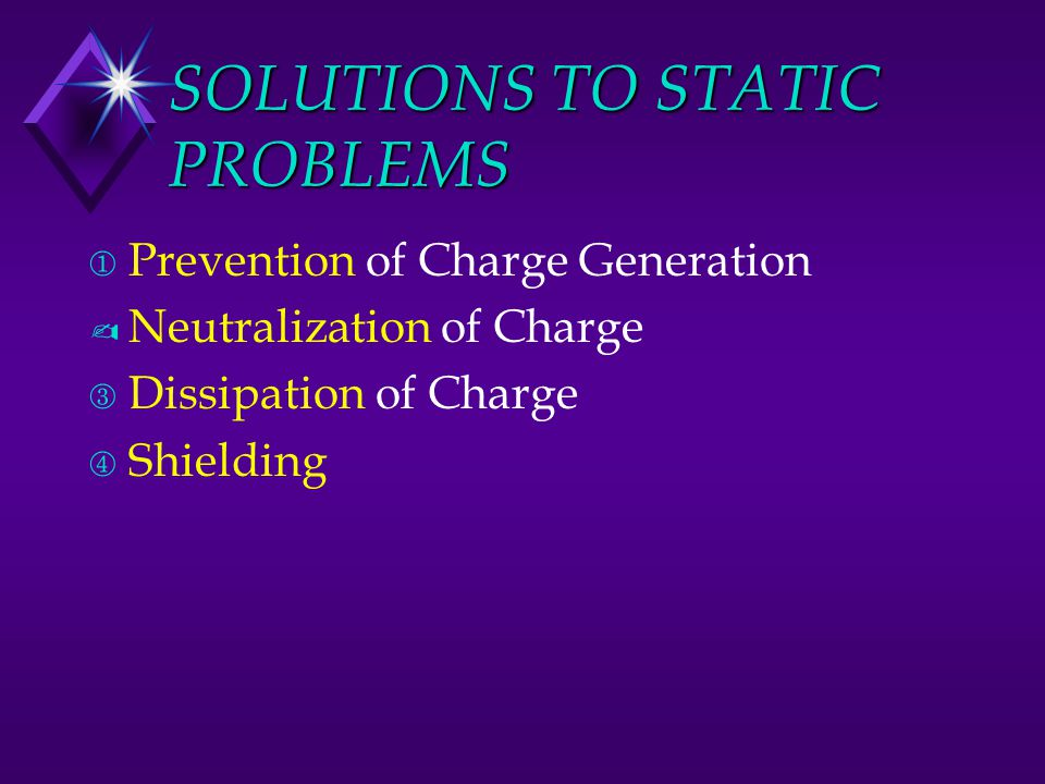 SOLUTIONS TO STATIC PROBLEMS ¬ Prevention of Charge Generation ­ Neutralization of Charge ® Dissipation of Charge ¯ Shielding