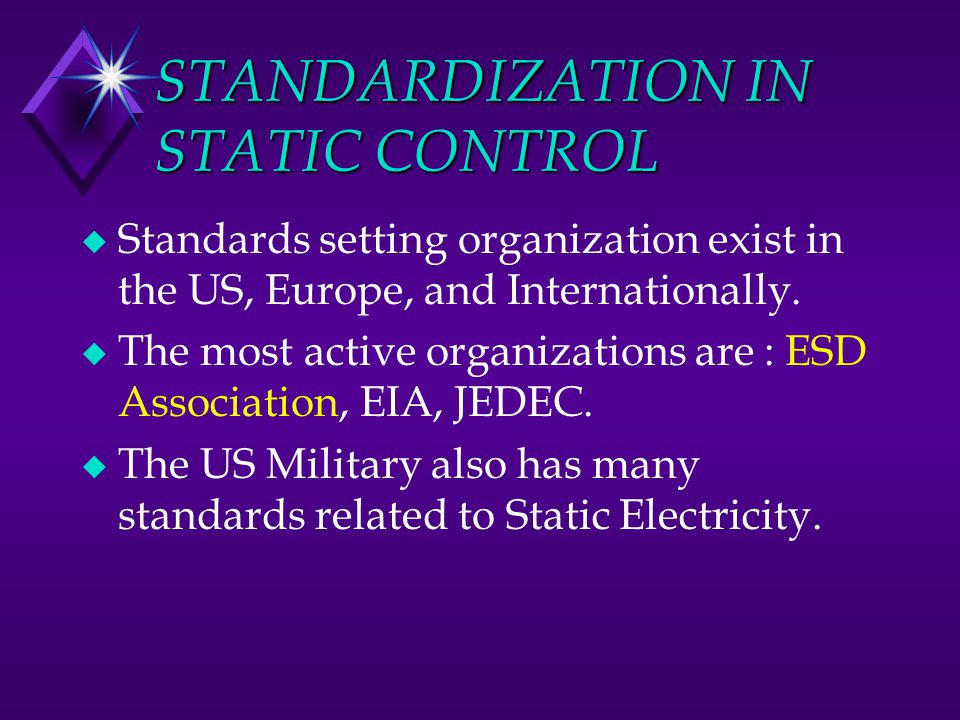 STANDARDIZATION IN STATIC CONTROL u Standards setting organization exist in the US, Europe, and Internationally. u The most active organizations are :