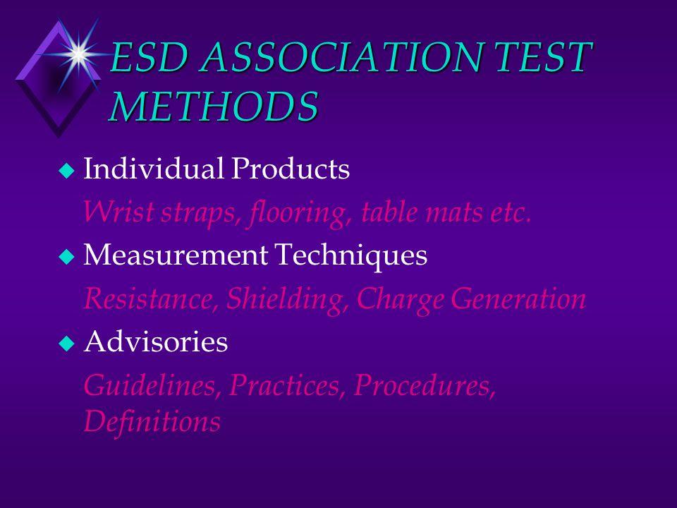 ESD ASSOCIATION TEST METHODS u Individual Products Wrist straps, flooring, table mats etc.