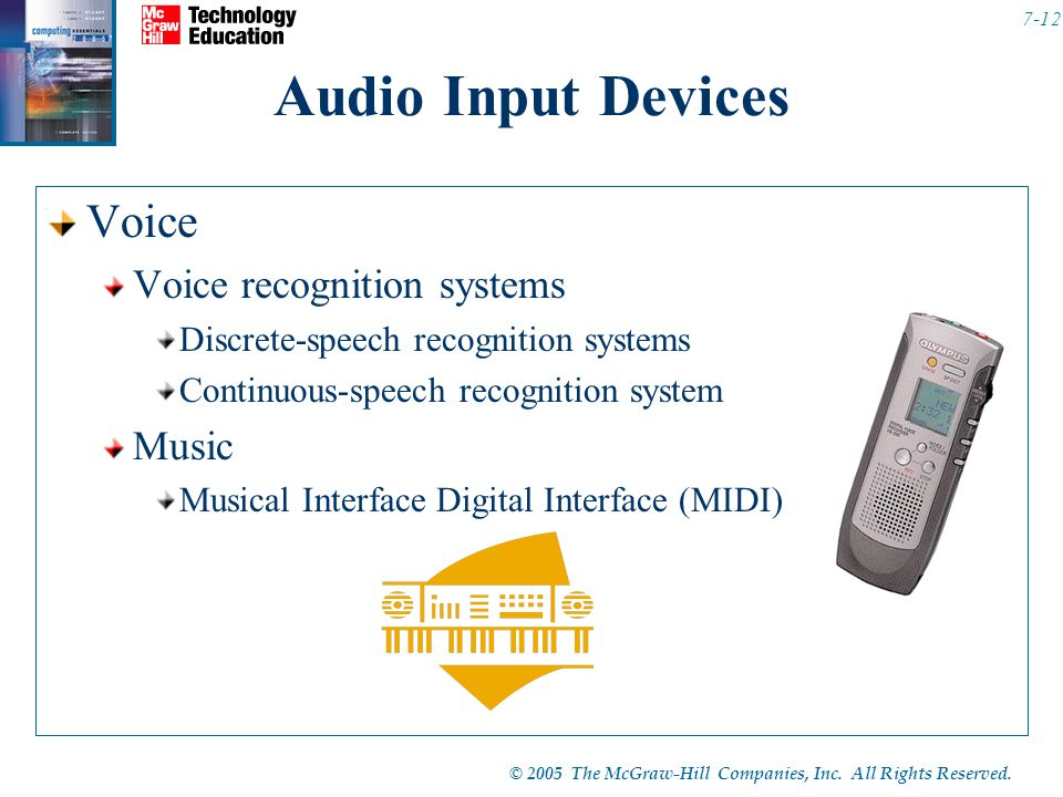 © 2005 The McGraw-Hill Companies, Inc. All Rights Reserved. 7-12 Audio Input Devices Voice Voice recognition systems Discrete-speech recognition syste