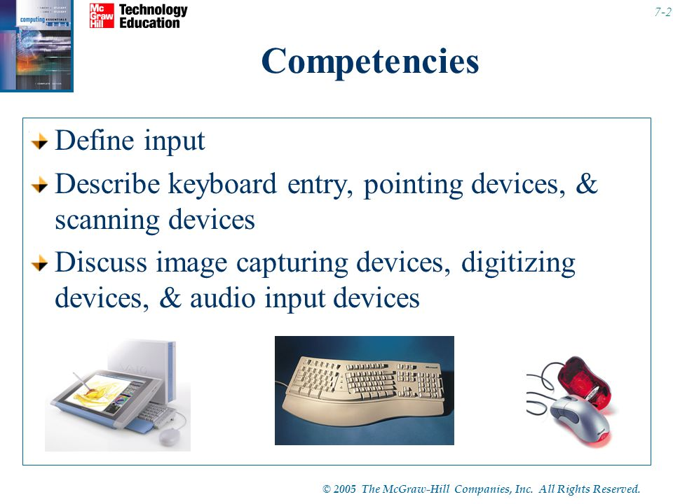 © 2005 The McGraw-Hill Companies, Inc. All Rights Reserved. 7-2 Competencies Define input Describe keyboard entry, pointing devices, & scanning device