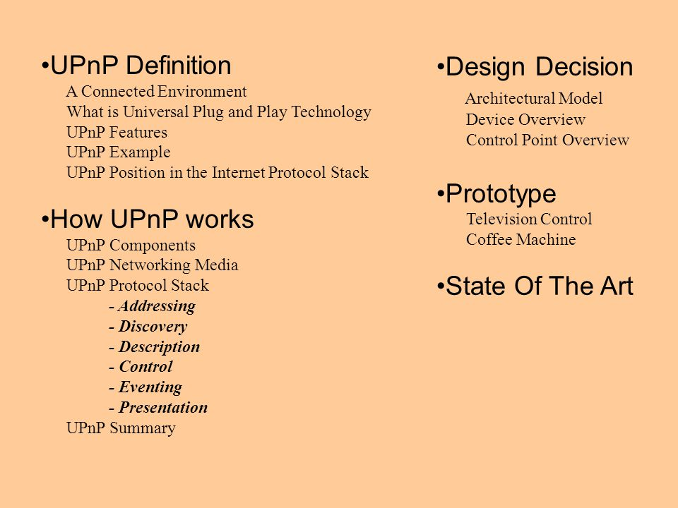 UPnP Definition A Connected Environment What is Universal Plug and Play Technology UPnP Features UPnP Example UPnP Position in the Internet Protocol S