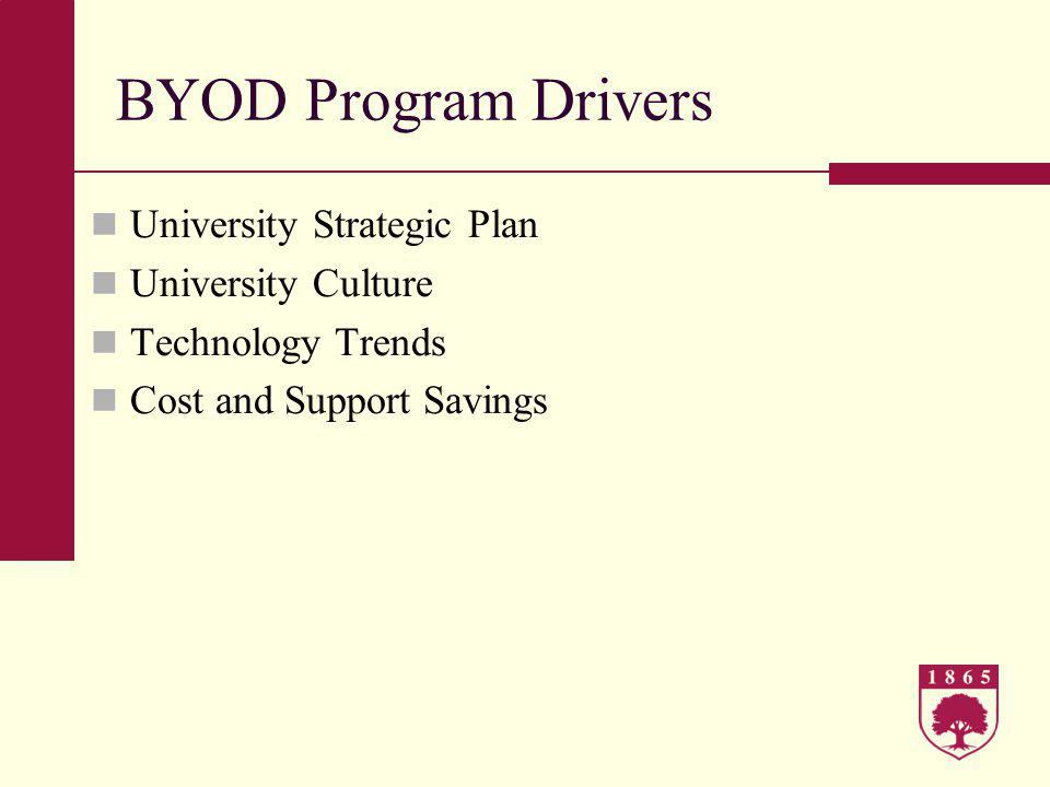 BYOD Program Goals Encourage innovation Create an option for people to have it their way Address management of constant change and consumerization of IT head-on Increase employee accountability and awareness for information privacy and security Control costs