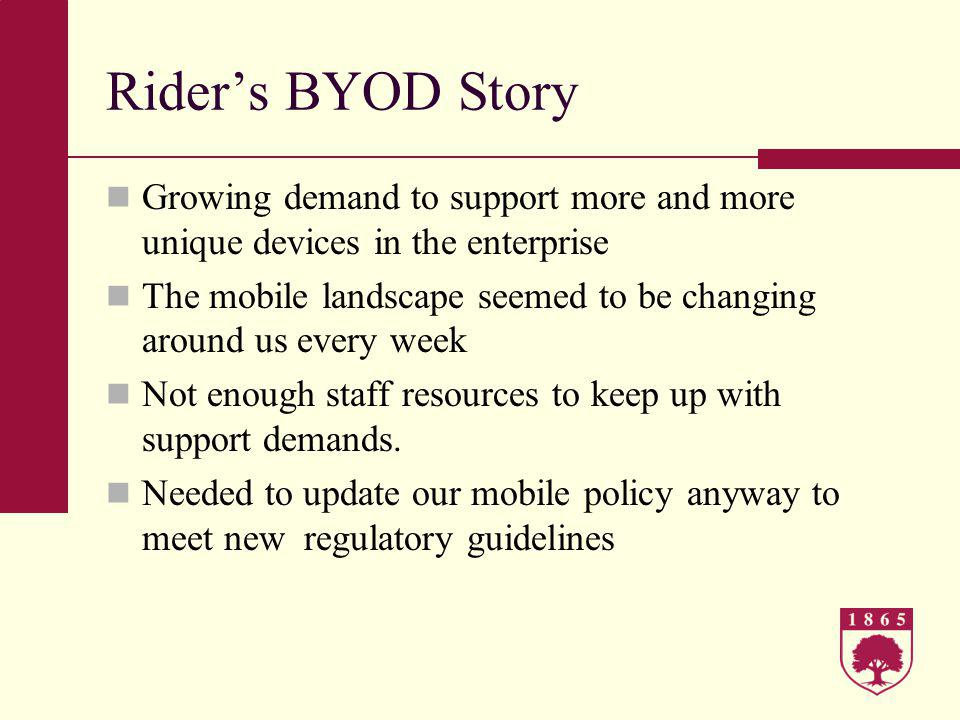 For more information including Policys, forms, and guidelines please visit http://www.rider.edu/technology Questions?
