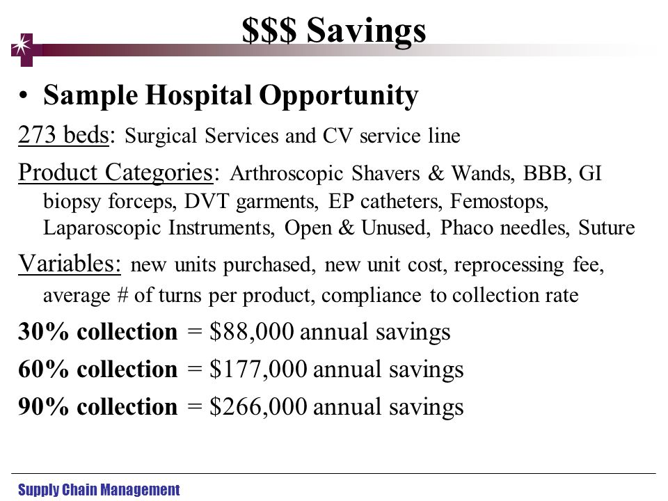 Supply Chain Management $$$ Savings Sample Hospital Opportunity 273 beds: Surgical Services and CV service line Product Categories: Arthroscopic Shave
