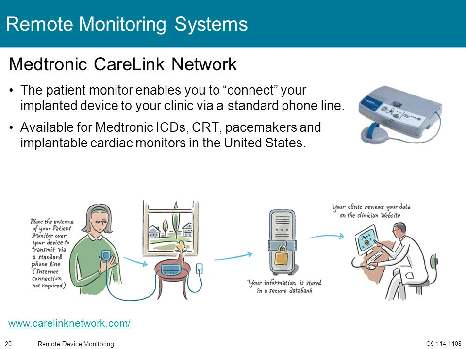 C9-114-1108 Remote Device Monitoring20 Remote Monitoring Systems Medtronic CareLink Network The patient monitor enables you to connect your implanted
