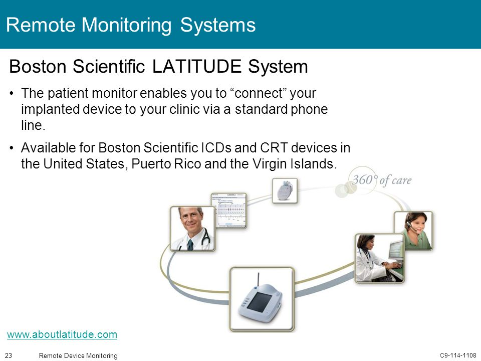 C9-114-1108 Remote Device Monitoring23 Remote Monitoring Systems Boston Scientific LATITUDE System The patient monitor enables you to connect your imp