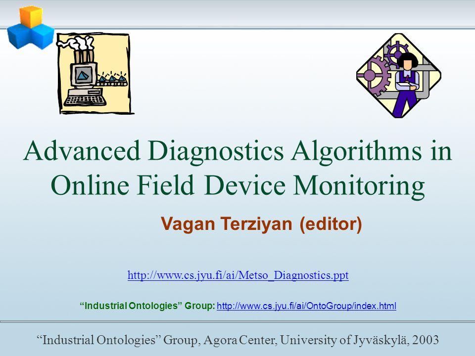 Advanced Diagnostics Algorithms in Online Field Device Monitoring Vagan Terziyan (editor) http://www.cs.jyu.fi/ai/Metso_Diagnostics.ppt Industrial Ontologies Group: http://www.cs.jyu.fi/ai/OntoGroup/index.html Industrial Ontologies Group, Agora Center, University of Jyväskylä, 2003
