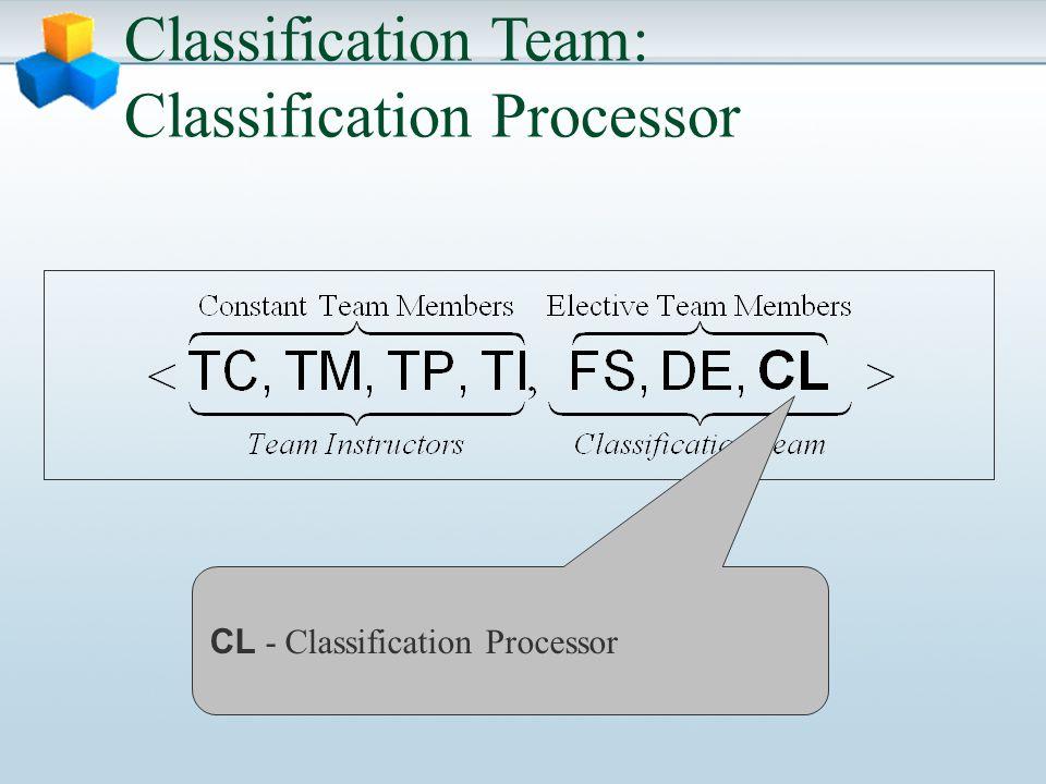 Classification Team: Classification Processor CL - Classification Processor