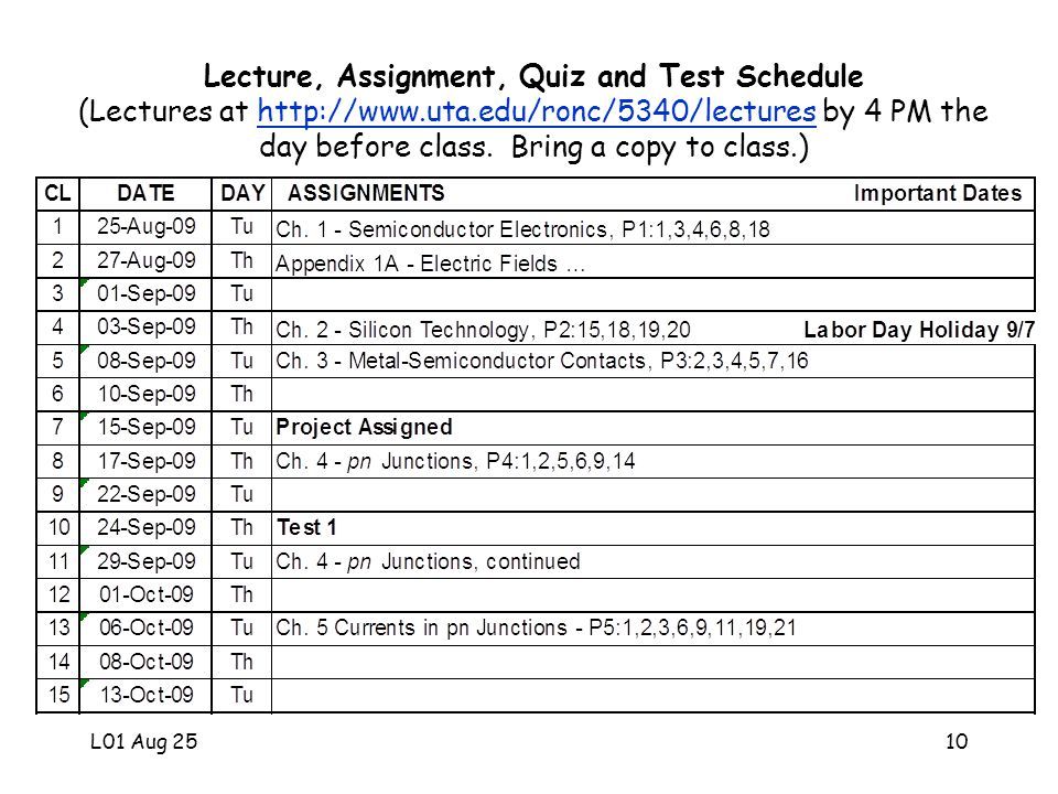 L01 Aug 2510 Lecture, Assignment, Quiz and Test Schedule (Lectures at http://www.uta.edu/ronc/5340/lectures by 4 PM the day before class.