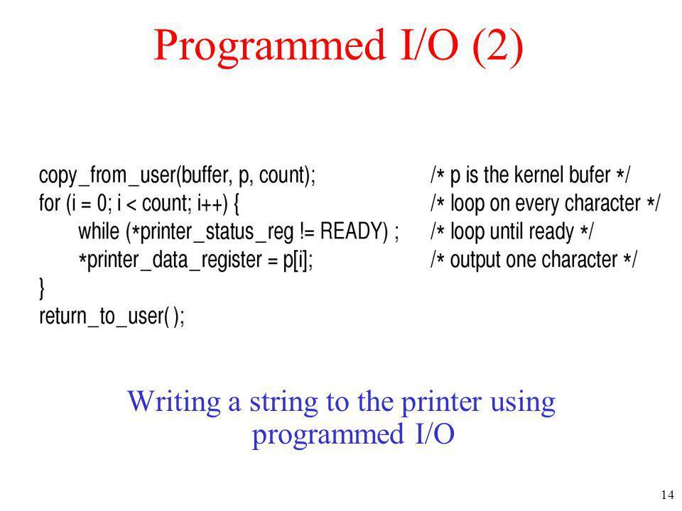 14 Programmed I/O (2) Writing a string to the printer using programmed I/O