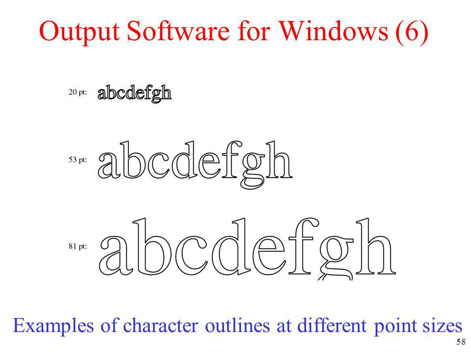 58 Output Software for Windows (6) Examples of character outlines at different point sizes
