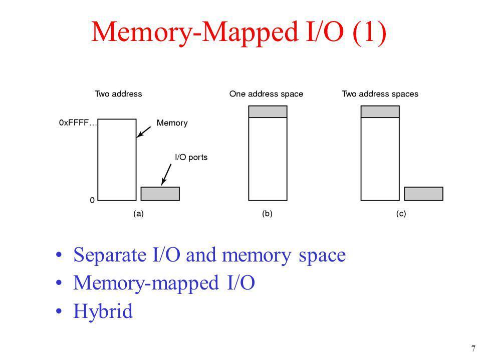 7 Memory-Mapped I/O (1) Separate I/O and memory space Memory-mapped I/O Hybrid