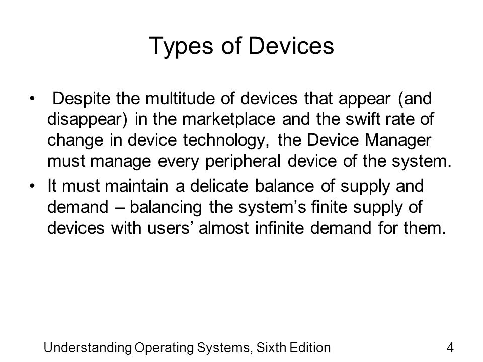 Understanding Operating Systems, Sixth Edition75 Communication Among Devices (cont d.) The success of the operation depends on the systems ability to know when a device has completed an operation.