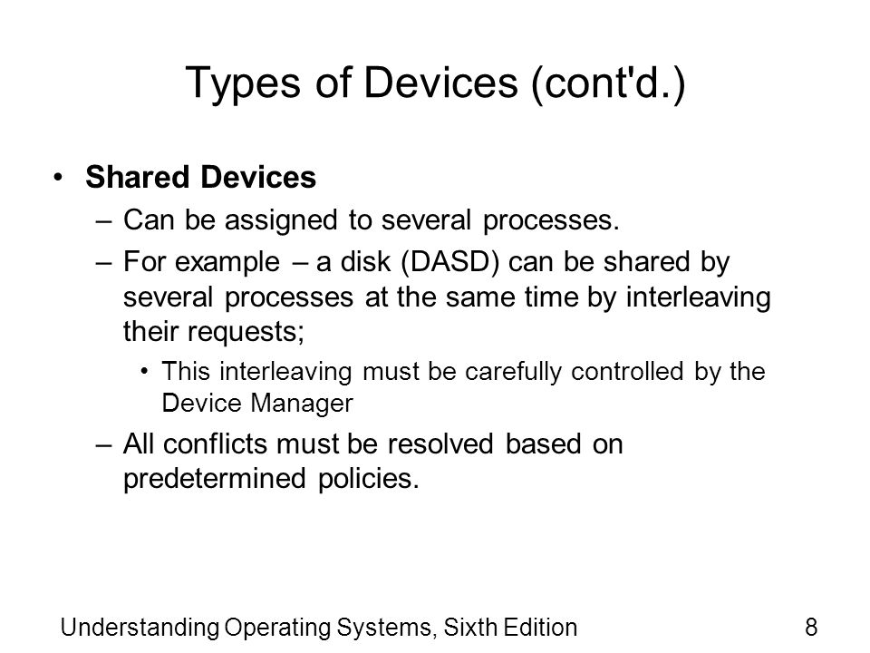 Understanding Operating Systems, Sixth Edition69 Components of the I/O Subsystem (cont d.) At the start of an I/O command, the information passed from the CPU to the channel is: –I/O command (READ, WRITE, REWIND, etc.) –Channel number –Address of the physical record to be transferred (from or to secondary storage).