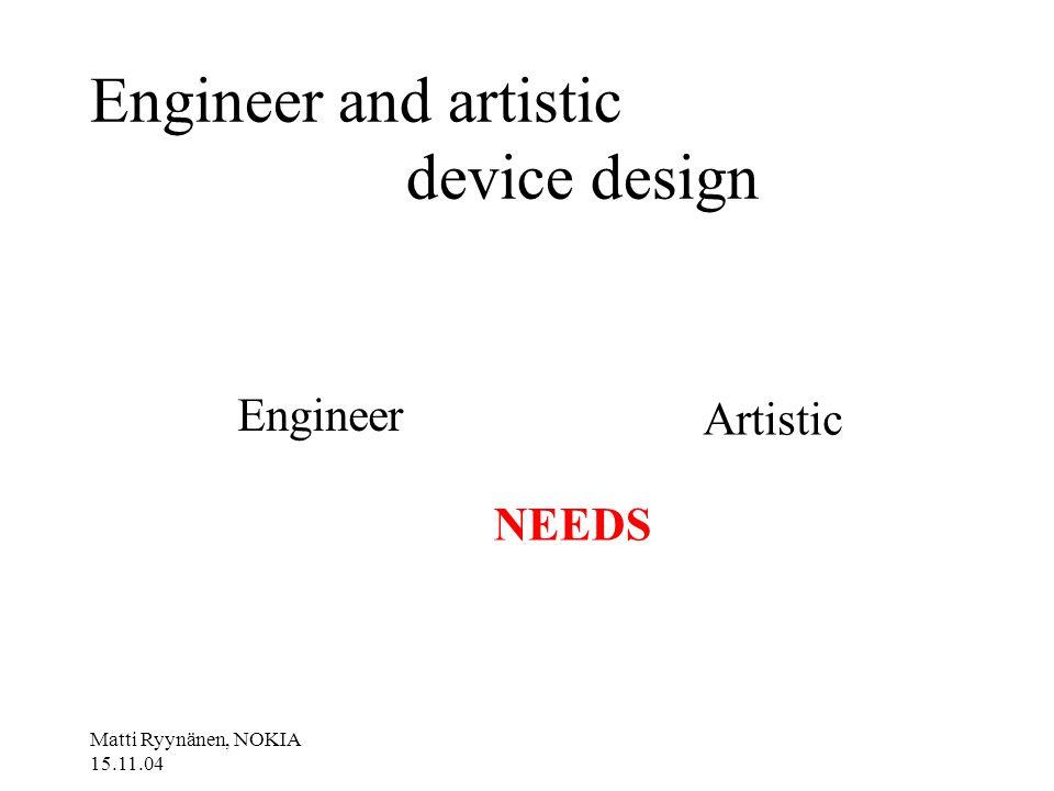 Matti Ryynänen, NOKIA 15.11.04 Engineer and artistic device design Engineer Artistic NEEDS