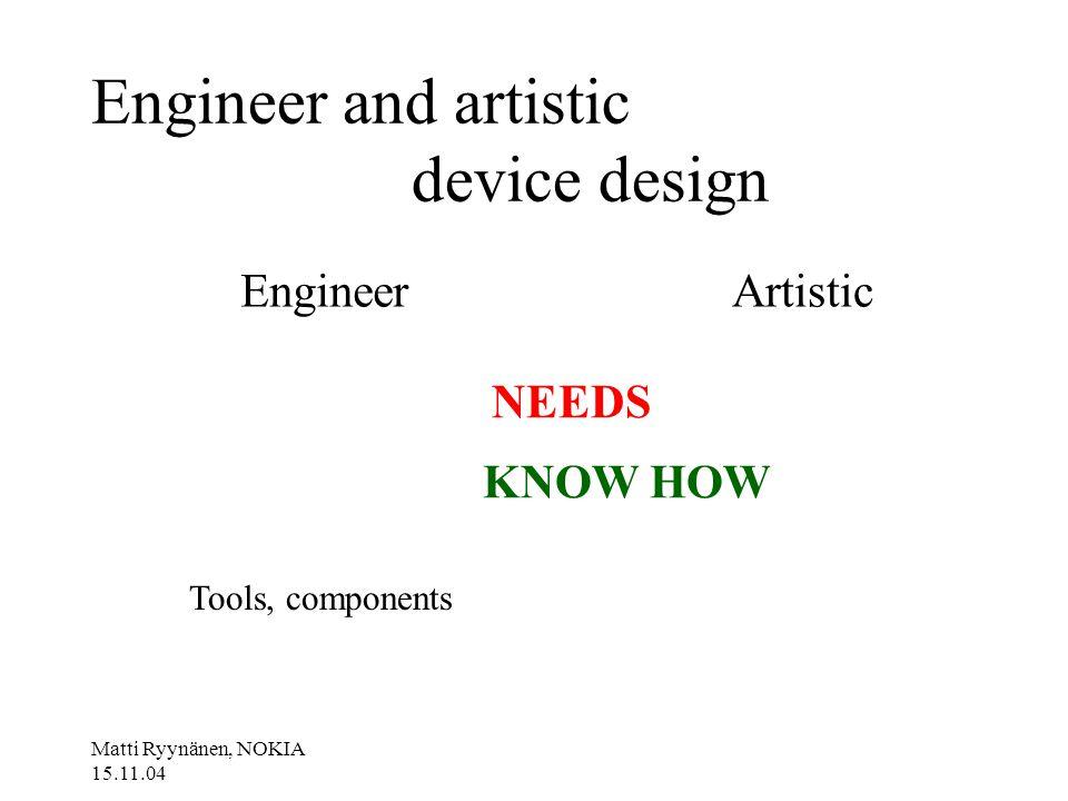 Matti Ryynänen, NOKIA 15.11.04 Engineer and artistic device design EngineerArtistic NEEDS KNOW HOW Tools, components
