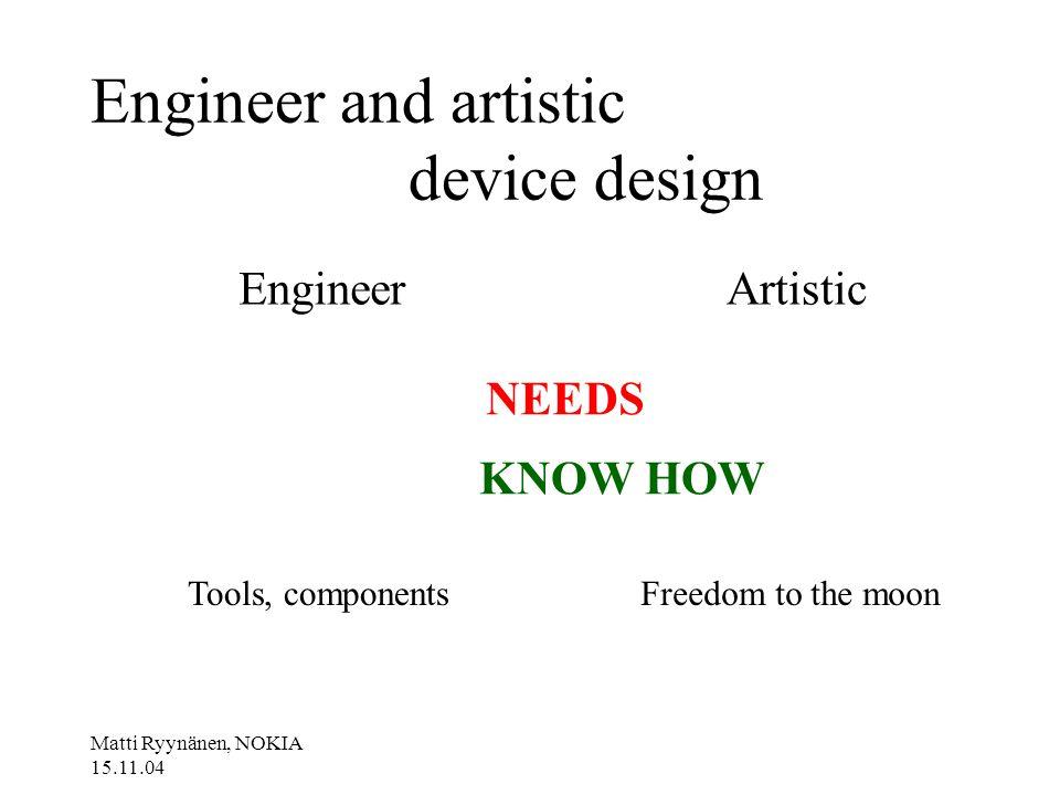 Matti Ryynänen, NOKIA 15.11.04 Engineer and artistic device design EngineerArtistic NEEDS KNOW HOW Tools, componentsFreedom to the moon