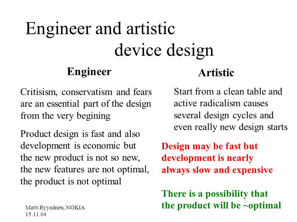 Matti Ryynänen, NOKIA 15.11.04 Engineer and artistic device design Engineer Artistic Critisism, conservatism and fears are an essential part of the design from the very begining Product design is fast and also development is economic but the new product is not so new, the new features are not optimal, the product is not optimal Start from a clean table and active radicalism causes several design cycles and even really new design starts Design may be fast but development is nearly always slow and expensive There is a possibility that the product will be ~optimal