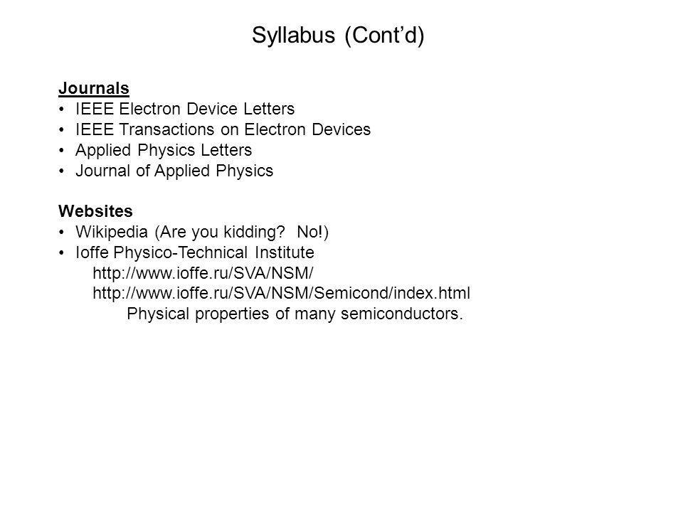 Syllabus (Contd) Journals IEEE Electron Device Letters IEEE Transactions on Electron Devices Applied Physics Letters Journal of Applied Physics Websit