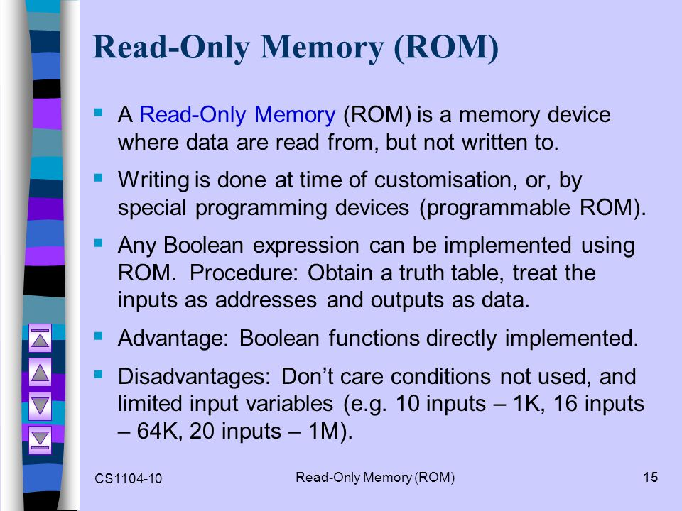 CS1104-10 Read-Only Memory (ROM)15 Read-Only Memory (ROM) A Read-Only Memory (ROM) is a memory device where data are read from, but not written to. Wr