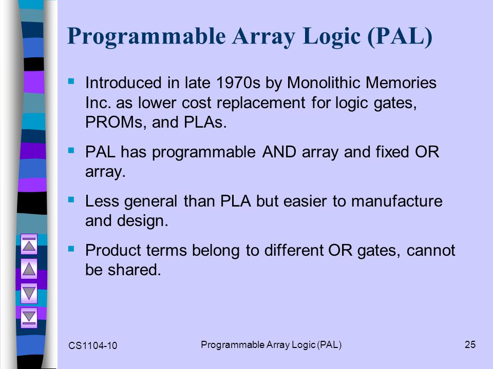 CS1104-10 Programmable Array Logic (PAL)25 Programmable Array Logic (PAL) Introduced in late 1970s by Monolithic Memories Inc. as lower cost replaceme