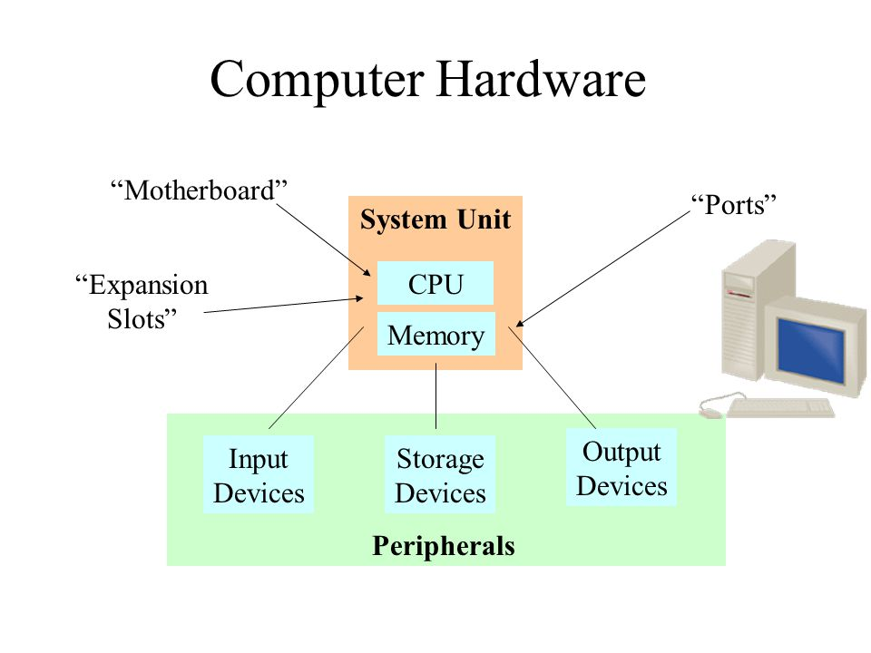 Computer Hardware CPU Memory System Unit Input Devices Storage Devices Output Devices Peripherals Ports Motherboard Expansion Slots