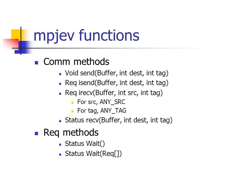 mpjev functions Comm methods Void send(Buffer, int dest, int tag) Req isend(Buffer, int dest, int tag) Req irecv(Buffer, int src, int tag) For src, AN