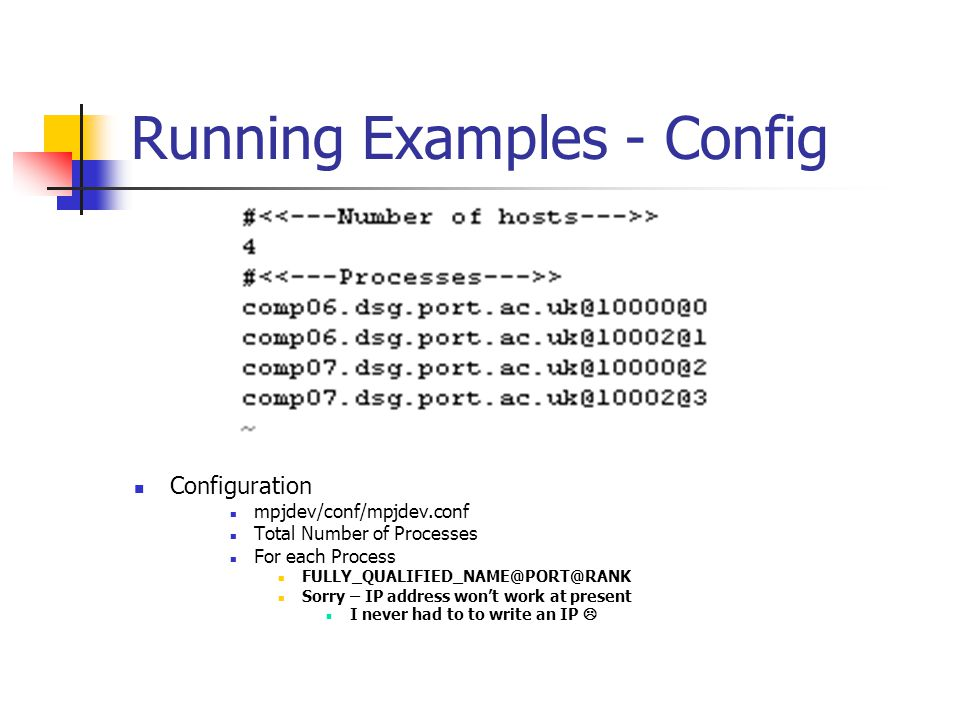 Running Examples - Config Configuration mpjdev/conf/mpjdev.conf Total Number of Processes For each Process FULLY_QUALIFIED_NAME@PORT@RANK Sorry – IP address wont work at present I never had to to write an IP