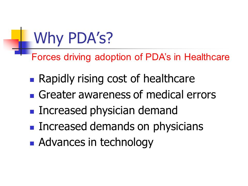 Healthcare accounts for 14% ($1.2 Trillion) of GDP in 1998 Costs expected to be over $2.2 trillion this year US Prescription costs represent $100B growing at 15% annually Generic Switching and Formulary Compliance = 3-4% savings Why PDAs.