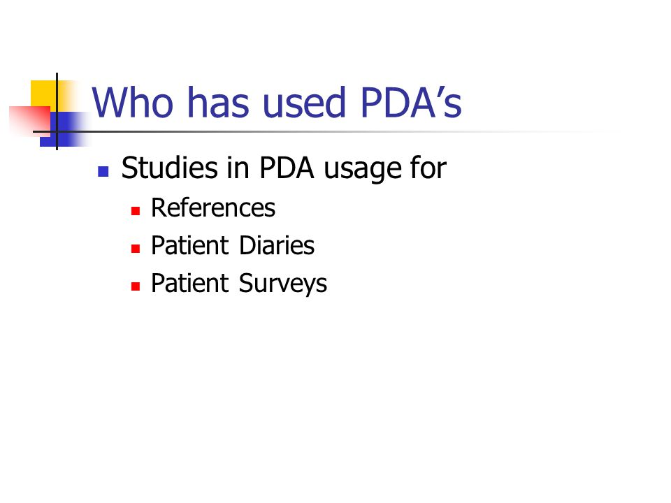 Who has used PDAs Studies in PDA usage for References Patient Diaries Patient Surveys