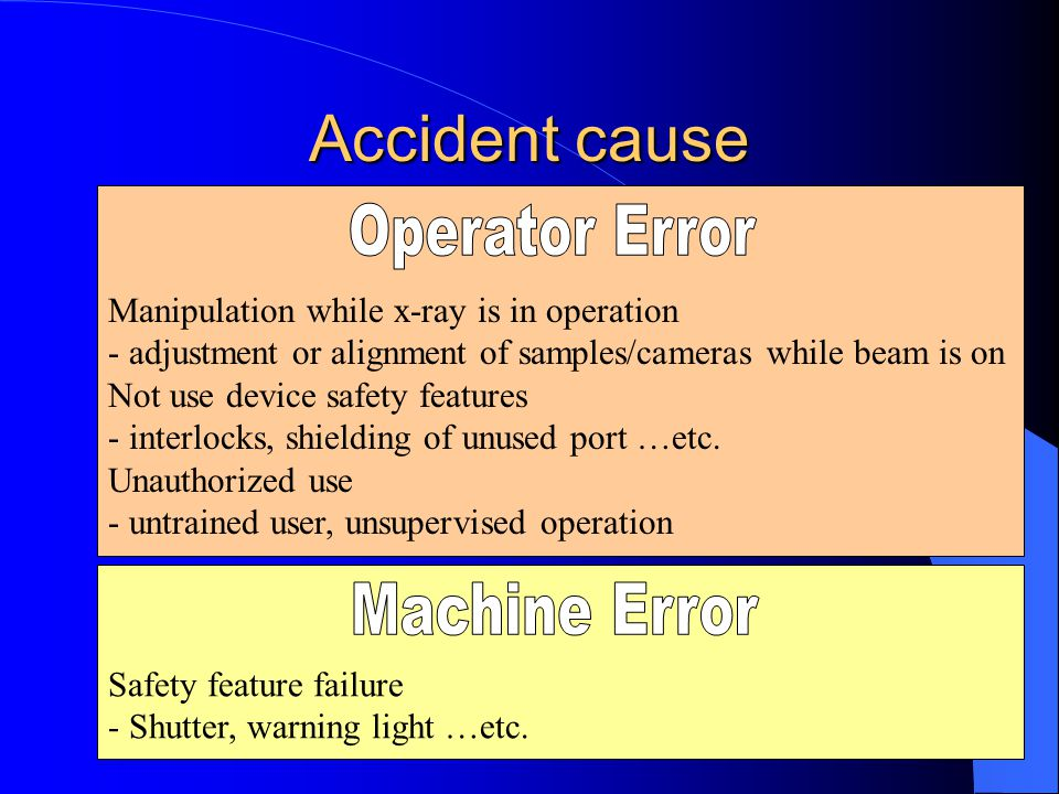 Accident cause Manipulation while x-ray is in operation - adjustment or alignment of samples/cameras while beam is on Not use device safety features -