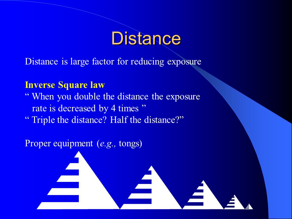 Distance Distance is large factor for reducing exposure Inverse Square law When you double the distance the exposure rate is decreased by 4 times Trip