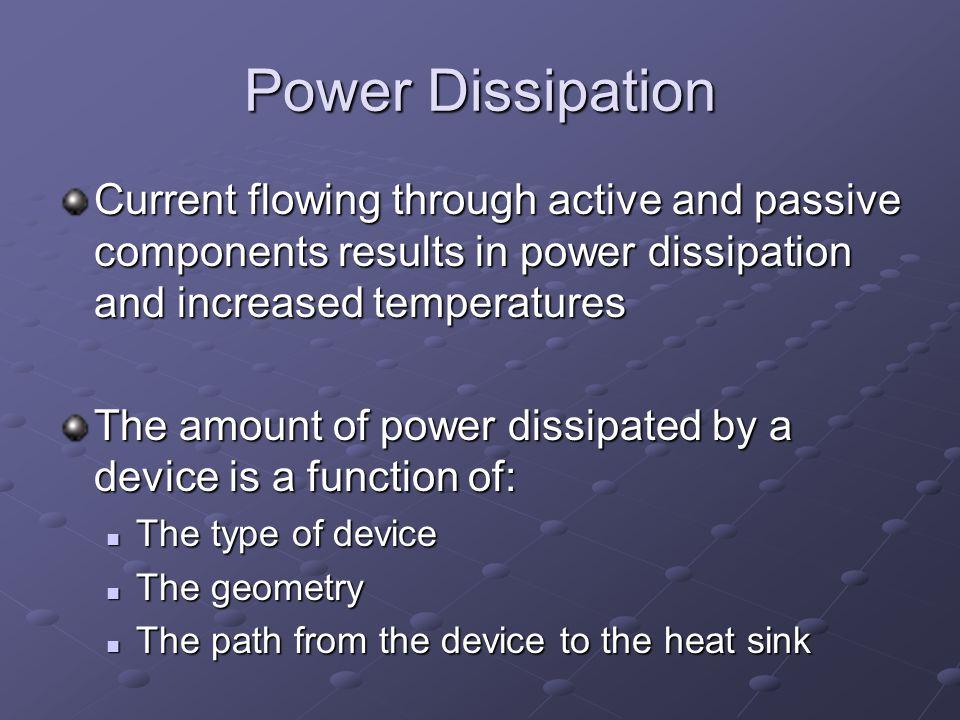 Components Where Power Dissipation Occurs Passive Devices Resistors Resistors Capacitors Capacitors Inductors Inductors Transformers Transformers Active Devices Transistors Integrated CircuitsInterconnections