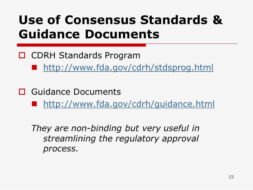 15 Use of Consensus Standards & Guidance Documents CDRH Standards Program http://www.fda.gov/cdrh/stdsprog.html Guidance Documents http://www.fda.gov/