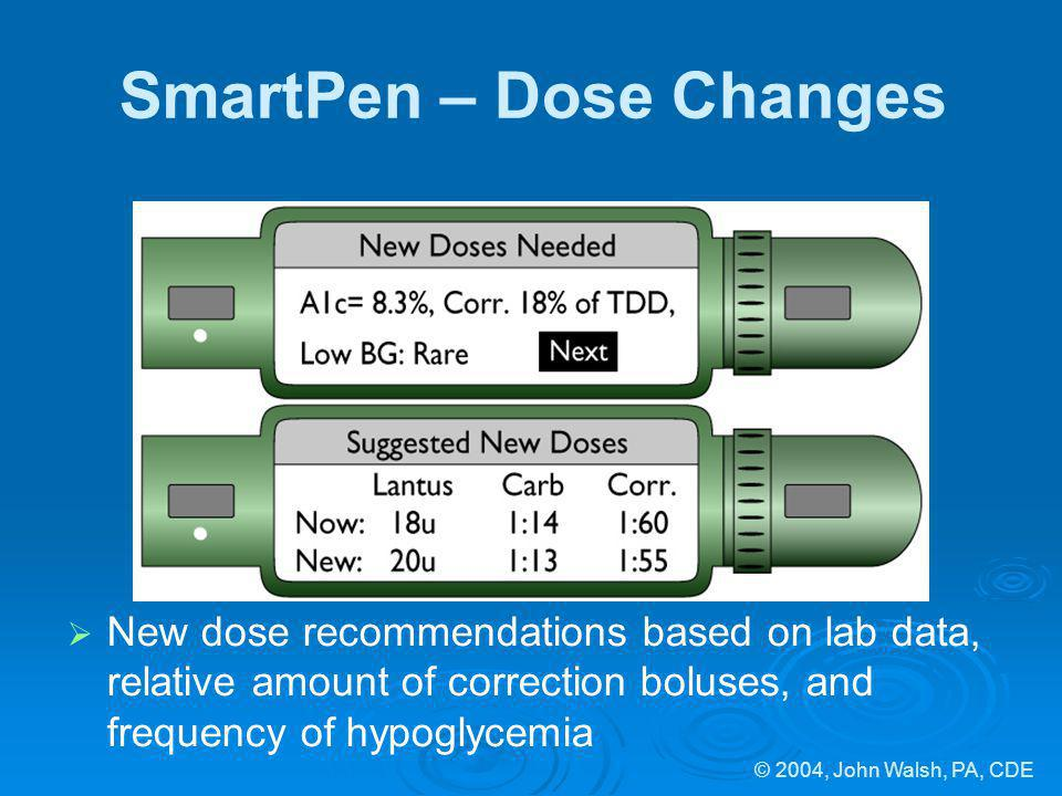 © 2004, John Walsh, PA, CDE SmartPen – Dose Changes New dose recommendations based on lab data, relative amount of correction boluses, and frequency o