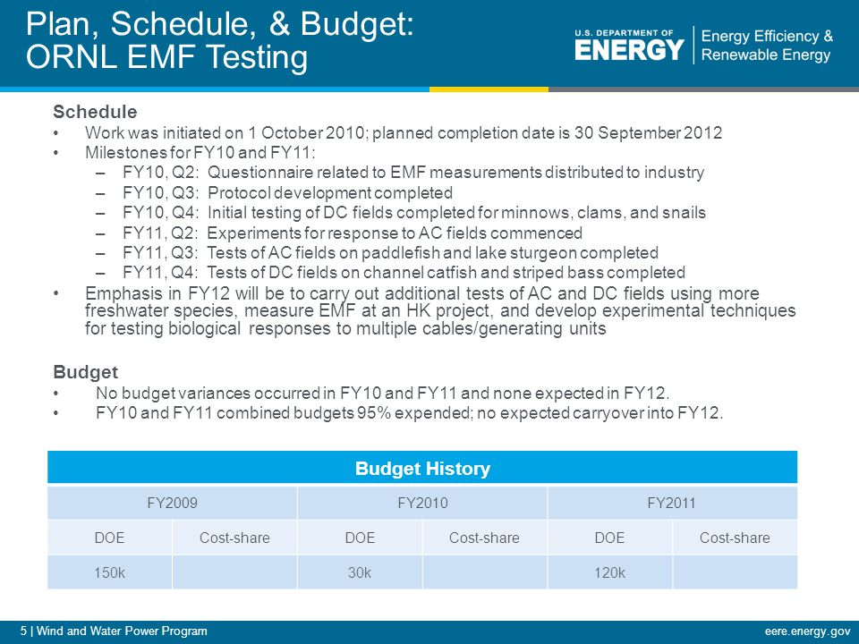 6 | Wind and Water Power Programeere.energy.gov Plan, Schedule, & Budget: PNNL Acoustics Testing Schedule Work was initiated on 1 October 2011; planned completion date is 30 September 2012 Milestones for FY10 and FY11 (limited activities in FY10) –FY10, Q4: Transfer of acoustics testing equipment to PNNL Marine Sciences Laboratory –FY11, Q2: Acoustic test system installation and staff training –FY11, Q3: Acoustics fish testing complete for juvenile salmon –FY11, Q4: Data analysis and reporting complete Emphasis in FY12 will be to conduct acoustics testing on a second marine fish species, possibly an elasmobranch (shark, skate, or ray species).