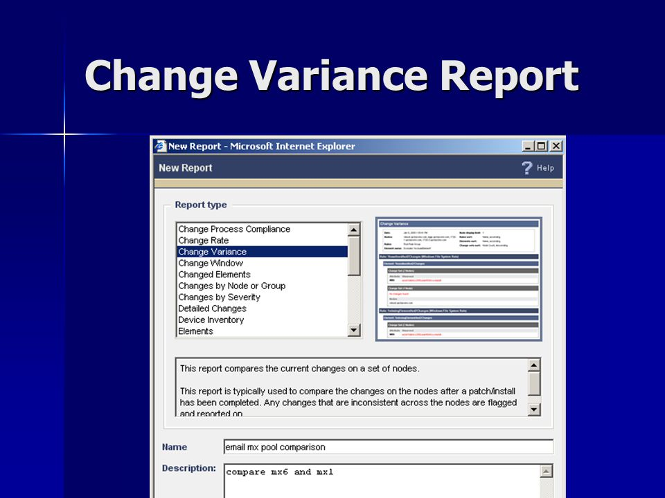Change Variance Report