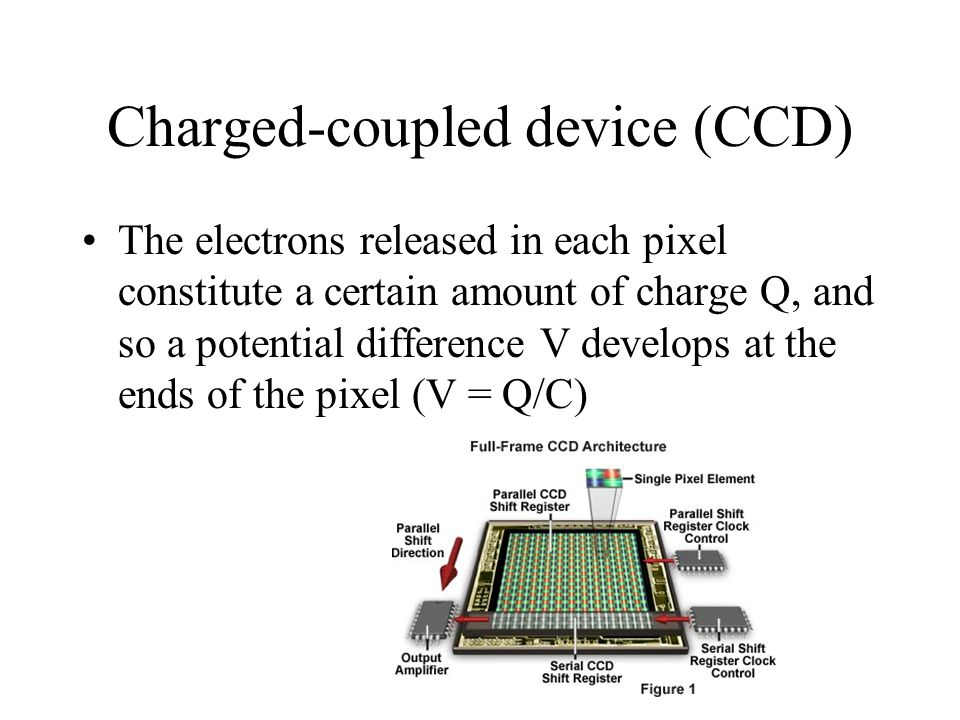 Charged-coupled device (CCD) The electrons released in each pixel constitute a certain amount of charge Q, and so a potential difference V develops at
