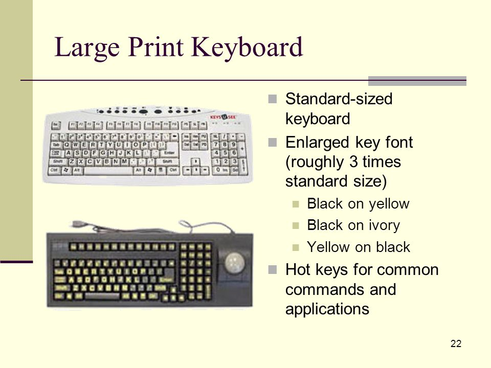 22 Large Print Keyboard Standard-sized keyboard Enlarged key font (roughly 3 times standard size) Black on yellow Black on ivory Yellow on black Hot keys for common commands and applications