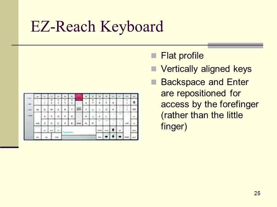 25 EZ-Reach Keyboard Flat profile Vertically aligned keys Backspace and Enter are repositioned for access by the forefinger (rather than the little finger)