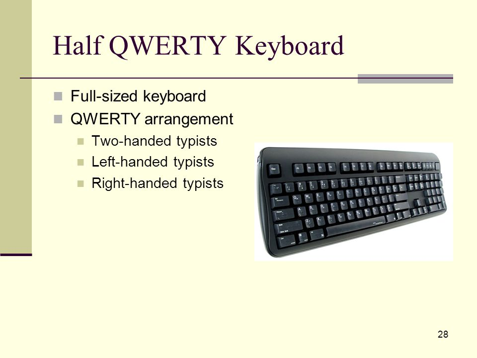 28 Half QWERTY Keyboard Full-sized keyboard QWERTY arrangement Two-handed typists Left-handed typists Right-handed typists