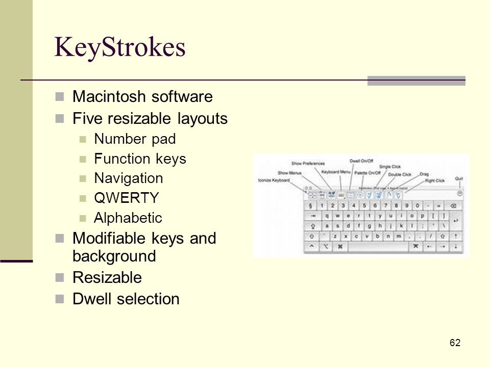 62 KeyStrokes Macintosh software Five resizable layouts Number pad Function keys Navigation QWERTY Alphabetic Modifiable keys and background Resizable Dwell selection