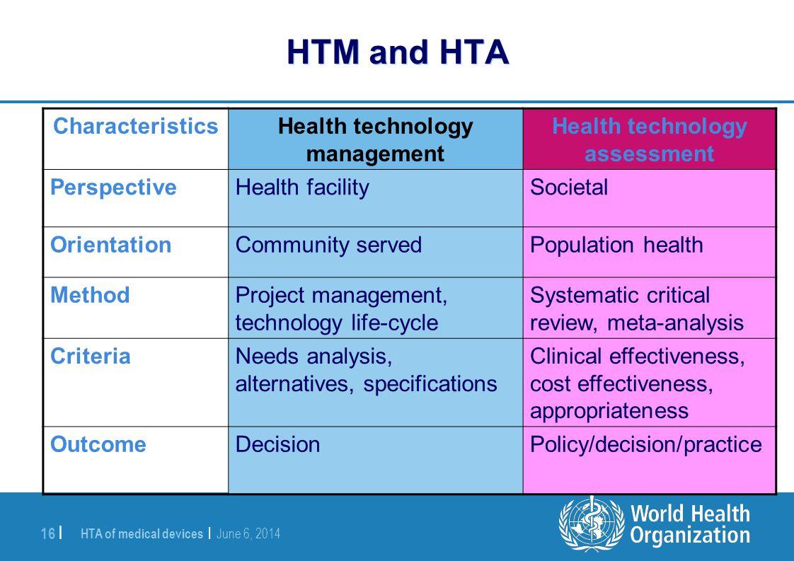 HTA of medical devices | June 6, 2014 16 | HTM and HTA Health technology assessment Health technology management Characteristics SocietalHealth facili
