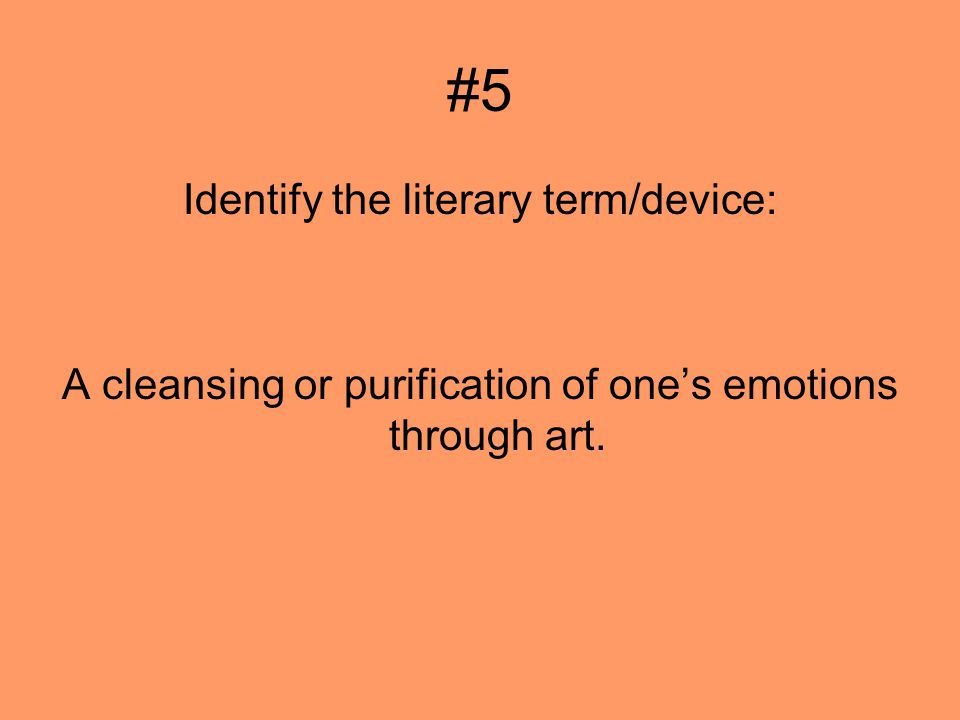 #5 Identify the literary term/device: A cleansing or purification of ones emotions through art.
