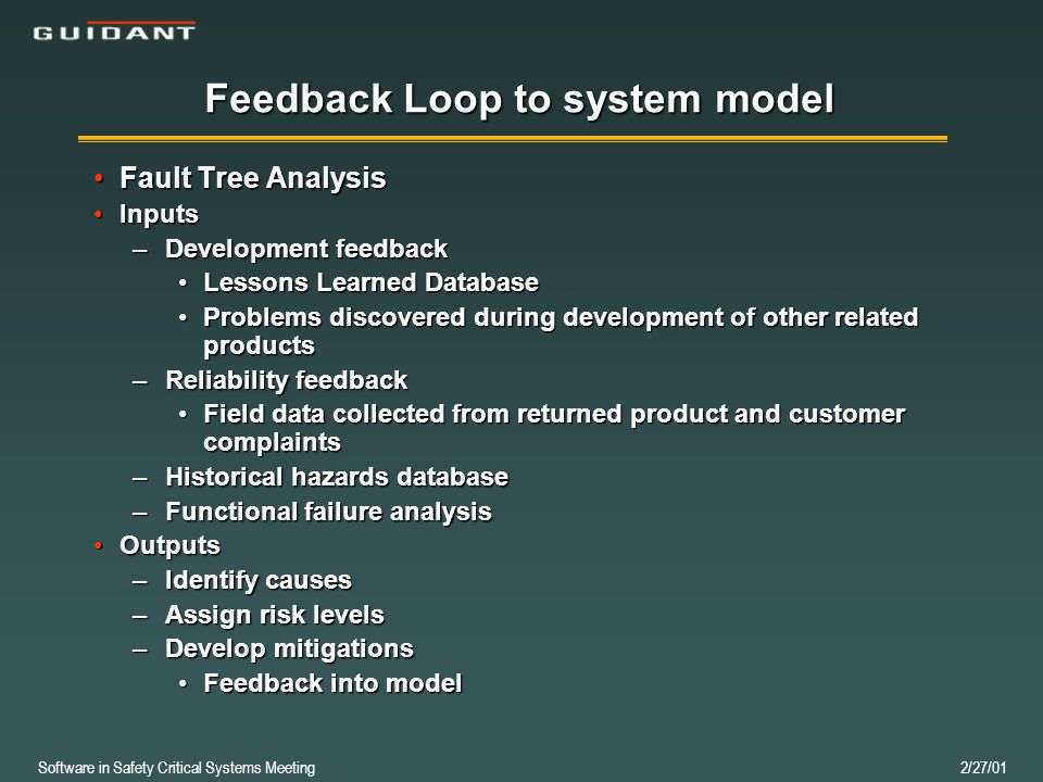 Software in Safety Critical Systems Meeting 2/27/01 Feedback Loop to system model Fault Tree AnalysisFault Tree Analysis InputsInputs –Development feedback Lessons Learned DatabaseLessons Learned Database Problems discovered during development of other related productsProblems discovered during development of other related products –Reliability feedback Field data collected from returned product and customer complaintsField data collected from returned product and customer complaints –Historical hazards database –Functional failure analysis OutputsOutputs –Identify causes –Assign risk levels –Develop mitigations Feedback into modelFeedback into model