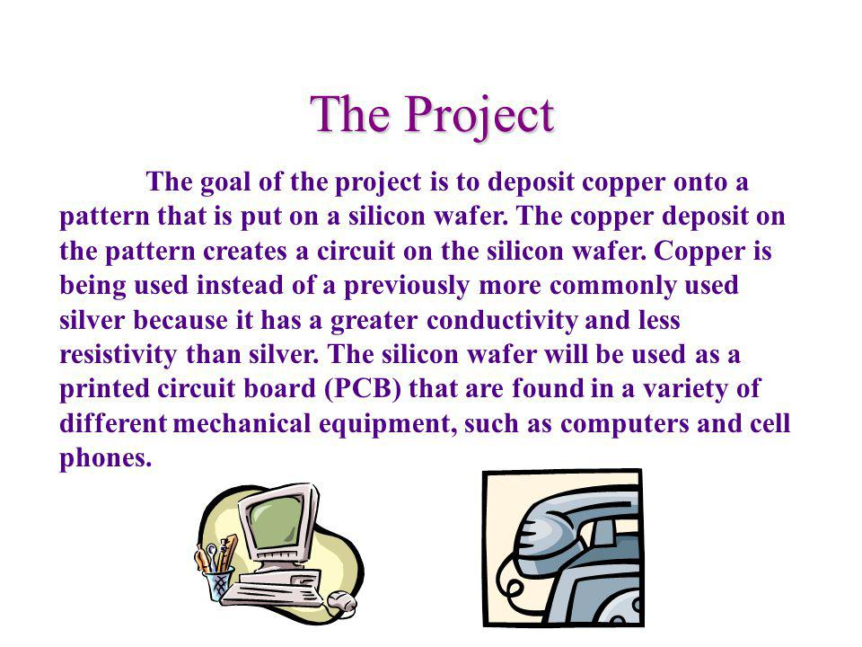 The Project The goal of the project is to deposit copper onto a pattern that is put on a silicon wafer.