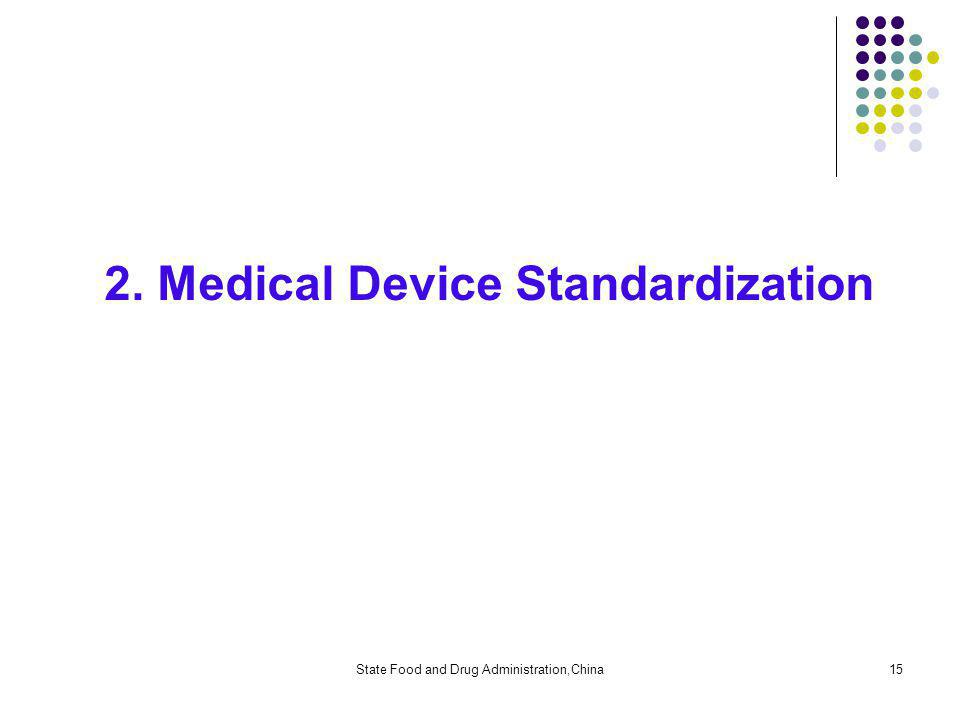 State Food and Drug Administration,China15 2. Medical Device Standardization