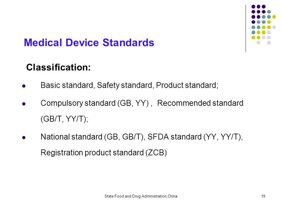 State Food and Drug Administration,China19 Medical Device Standards Classification: Basic standard, Safety standard, Product standard; Compulsory standard (GB, YY), Recommended standard (GB/T, YY/T); National standard (GB, GB/T), SFDA standard (YY, YY/T), Registration product standard (ZCB)