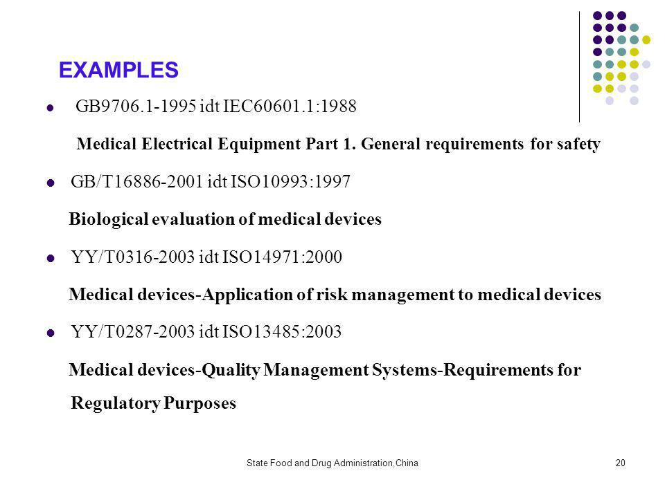 State Food and Drug Administration,China20 EXAMPLES GB9706.1-1995 idt IEC60601.1:1988 Medical Electrical Equipment Part 1.